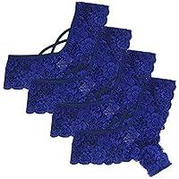 KaloryWee 4pc String Femme Culotte Dentelle Sexy Soie Hot Taille Basse Noir sous-vêtement Lingerie Shorty Slip