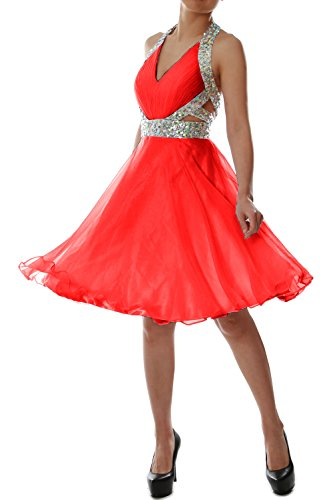 MACloth Elegant Short Prom Homecoming Dress Halter V neck Party Formal Gown red