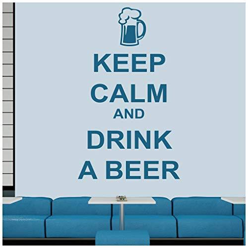 azutura Ruhe bewahren, ruhig bleiben Wandtattoo Bier trinken Wand Sticker Kitchen Bar Zitate Wohnkultur verfügbar in 5 Größen und 25 Farben X-Groß Weiß