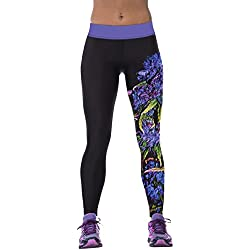 Ninimour Mujer Pantalones elásticos 3D Digital Print Tight Stretchy Sports Pants Leggings (Talla única, YDC025)