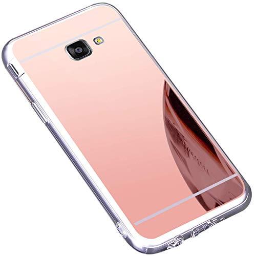 Felfy Kompatibel mit Galaxy A5 2016 Hülle Spiegel HandyHülle Glitzer Plating Spiegel Stoßdämpfend Soft Gel TPU Silikon Bumper Cover Case Handy Hülle Schutzhülle,Rose Gold