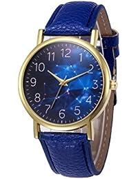 Relojes Mujer,Xinan PU Banda de Cuero Aleación Analógica de Cuarzo Reloj (Azul)