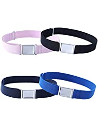 Cinturón magnético ajustable para niños, 4 piezas, cinturón elástico grande con hebilla magnética fácil para niños de 2 a 15 años, niñas