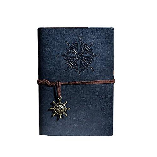 cahier du journal intime - TOOGOO(R)Carnet avec Personnalite Retro cahier du journal intime reliure a anneaux Diary Notebook Bleu L