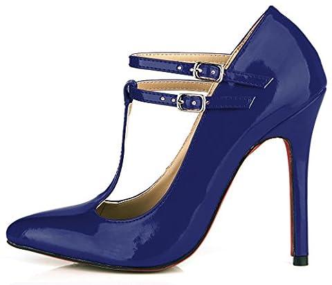 Frauen Schuhe Temperament und neue rot, schwarz lackiert leder schuhe Nachtclubs High Heels, Dark Blue Pearl (Dark Pink Suede Schuhe)