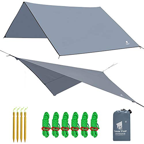 GEERTOP Zeltplane Sonnensegel Tarp Leichtgewichtige Wasserdicht - 300 x 220 cm - mit Zeltheringen und reflektierend Abspannseile und Tasche für Camping Wandern Bergsteigen (Grau)