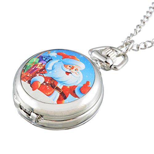 Souarts-Silver-Tone-Color-Christmas-Father-Santa-Claus-Pattern-Quartz-Analog-Pocket-Watch-84cm