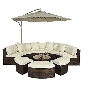 Monaco Large Rattan Sofa Set (Semi Circle) with Small Round Glass Table and + Cushions + Umbrella / Parasol + Dust Cover Garden Patio Conservatory Lounge Furniture (330 x 210 x 81 cm) Minimal Assembled