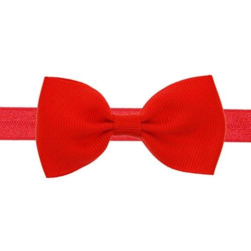 Winkey Mädchen Mini niedliche Schleife, Haarband, Elastisches Haarband (Bogen Band Rot)
