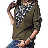 junkai Frauen Langarm-T-Shirt mit Flügelärmeln Kariertes Hemd mit Rundhalsausschnitt Bluse mit Pullover S-XL