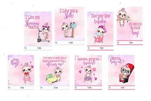 Faultier trendige Mottoparty Valentine 's Day Karten (24im lieferumfang enthalten) (Klassenzimmer Im Eule)