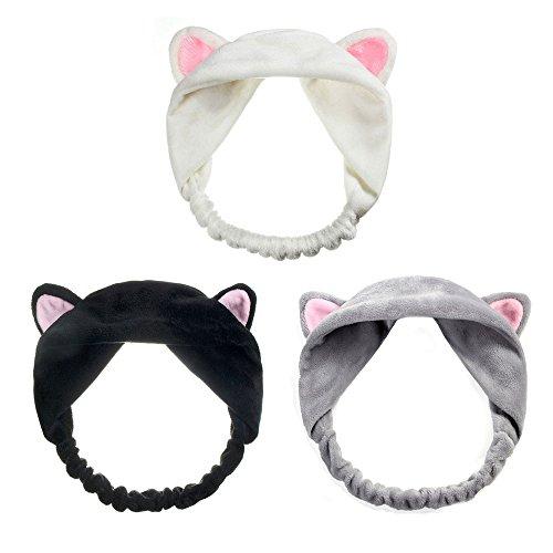 3pcs Haarband, süß Stirnband, Haarschmuck Haarreifen mit Katze Ohr für Damen Mädchen Gesichtswäsche Make up