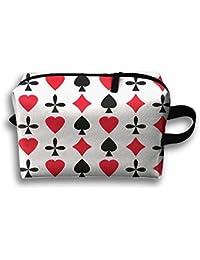 Unisex Tourist Bag Poker Cards Red Black Heart Multifunción Bolsa de maquillaje de viaje con cremallera