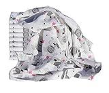 Clevere Kids Mulltücher Set 10 Stück bunt bedruckt Öko-Tex zertifiziert doppelt gewebt (Cute Teddy rosa)
