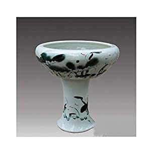 KPPTO Ceramic Ornaments, Lotus Aquarium, Aquarium With Pedestal, Creative, Eco, Fashion excellent texture