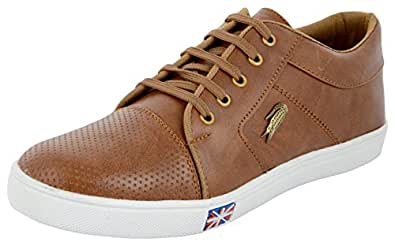 HILTON VATARI Men's Brown Sneakers, Shoe Horn and Shiner (Combo of 3) - 10 UK