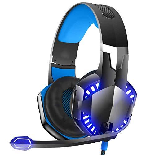OPmeA LED-Stereo-Gaming-Headset für PS4, PC, Xbox One Kabelgebundener Surround-Sound-Kopfhörer mit Noise Cancelling-Mikrofon (Farbe : Schwarz) (Razor Surround-sound)