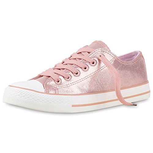 Elegante Damen Sneakers low | Glitzer Canvas Schuhe | Turnschuhe Freizeit | Gr. 36-41 Rosa Glanz