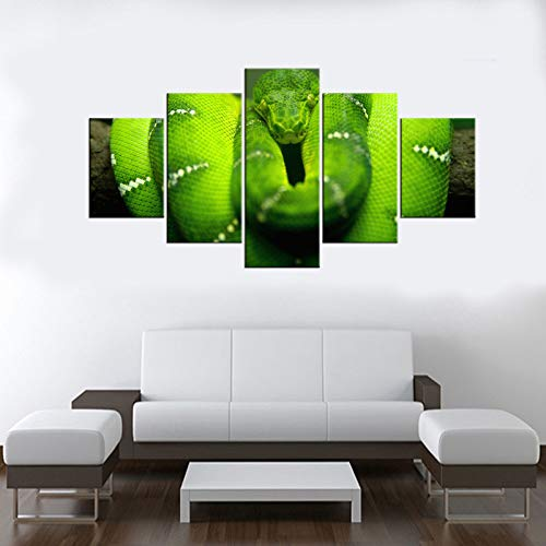 adgkitb canvas 5 Pezzi Tela Pittura Wall Art Verde Boa Constrictor Animale Poster Tela Stampa Wall Art D