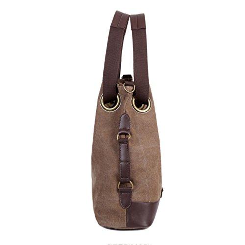 Damen Handtasche Vintage Umhängetasche Canvas Shopper Tasche Schultertasche Große Freizeittasche Tragetasche Braun