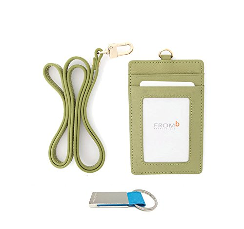 genuine-leather-id-window-credit-card-badge-holder-wallet-with-neck-strap-lime-green