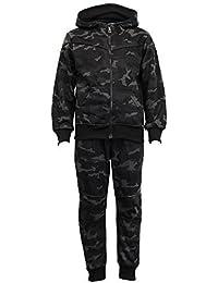Garçons Camouflage Survêtement Enfants À Capuche Militaire Pull Bas Hiver Polaire - Noir - G147, Size 6 - 5/6 Years