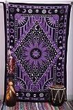 Craftozone Wandbehang im indischen Stil mit Sonne/Mond/Diamant-Motiv, Hippie-Tribal-Wandbehang, Purple (220x140 cms)