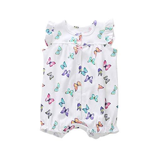 r Mädchen und Jungen Einteilige Cartoon Gestreiften Bodysuit Kurzarm Overall Sommer Jumpsuit(Weiß,12-18 Monate) ()