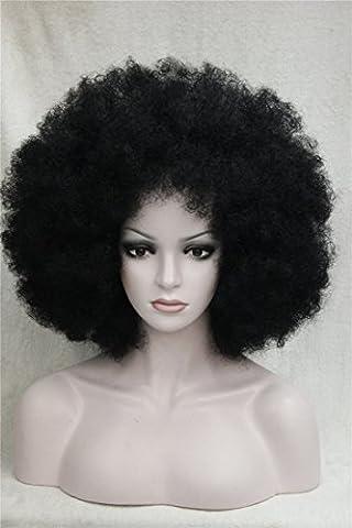Kalyss Femmes Longue Afro Cheveux Bouclés Perruques Noires Perruques à Fibre Synthétique Résistant à La Chaleur