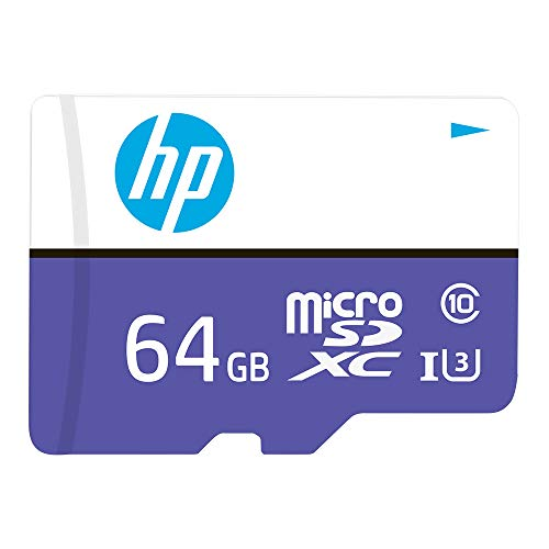 HP Micro SD Card 64GB with Adapter U3 (Purple) (Write Speed 60MB/s & Read Speed 100 MB/s Records 4K UHD and Fill HD Video)