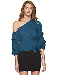 Stalk Buy Love Women's Georgette Sailor Peggy One Shoulder Knotted Top