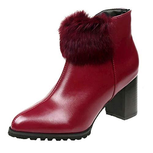 MYMYG Damen Stiefeletten Frauen High Heel Schuhe Leder einfarbig Martain Stiefel wies Toe Zipper Schuhe Chelsea Boots Runde Zehe Schuhe Reine Farbe Booties Ankle Boot