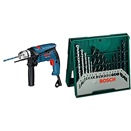 Bosch Professional GSB 13 RE - Taladro percutor, juego de accesorios, en caja, 600 W + Bosch Mini X-Line - Set de 15 brocas mixto: mini x-line
