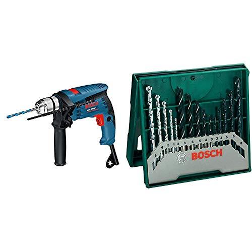 Bosch Professional 0601217100 GSB 13 RE Trapano Battente, Colore: Blu + Bosch 2607019675 X-Line Set Mini, 15 Punte, Metallo Legno Muro