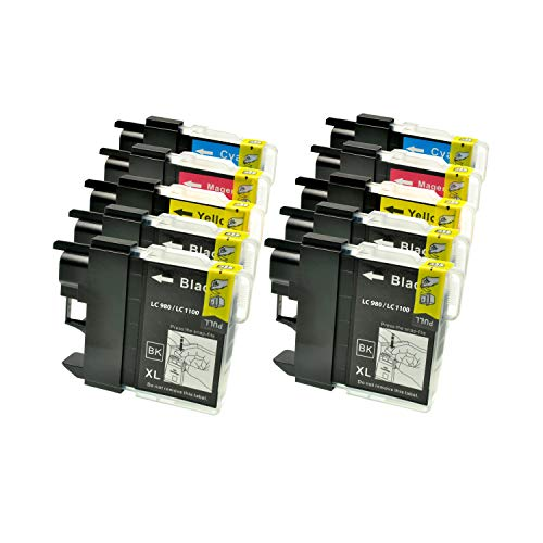 Logic-Seek 10 XXL Tintenpatronen kompatibel für Brother LC 1100 LC 980 LC1100 LC980 4xbk je 23ml, 2X c, 2X y, 2X m je 14ml, LC1100BK LC1100Y LC1100C LC1100M LC980BK LC980Y LC980C LC980M -