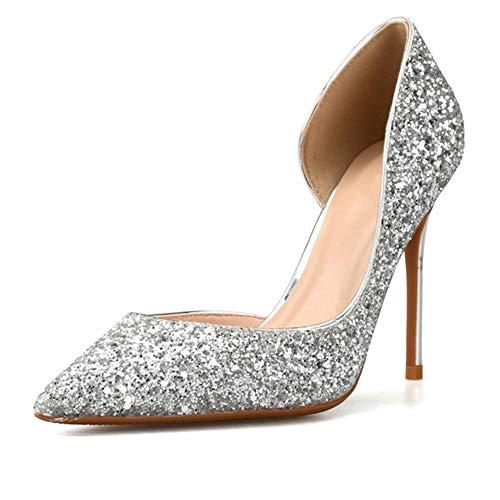 Mode Dorsay Pumps für Damen 6cm Hohe Stiletto Heels Side Cut Glitter Nachtclubschuhe (Color : Silber, Size : 41 EU) ()