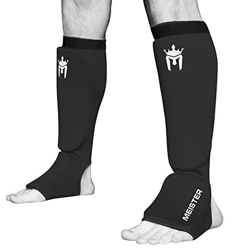 Meister MMA Elastic Cloth Shin & Instep Padded Guards (Pair) - Black - Small/Medium