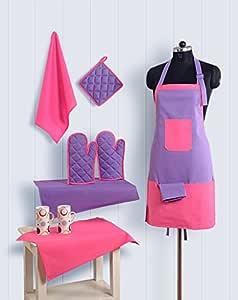 Swayam Grillz Standard Cotton 8 Piece Kitchen Linen Set - Multicolor