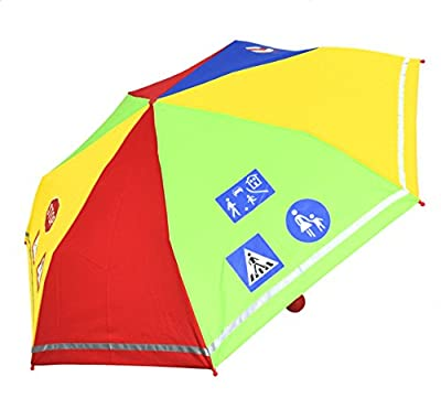 Kinder Regenschirm Taschenschirm Schultaschenschirm mit Reflektorstreifen extra leicht für Jungen und Mädchen
