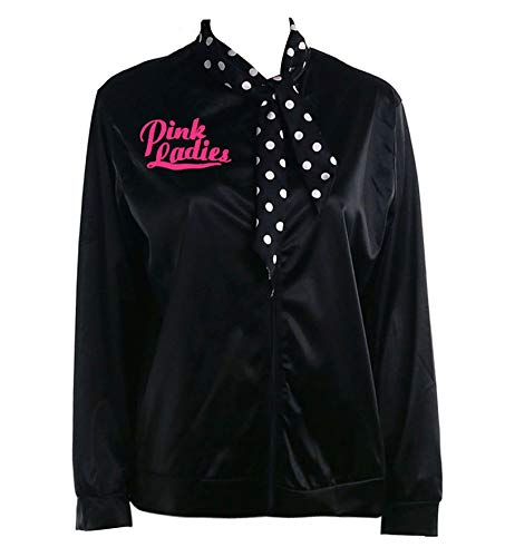 esrtyeryh Women Costume 50er Jahre Damen Schwarz Strass Jacke mit gepunktetem Schal Pink Party Kostüm Classic X-Large Black&Rhinestore