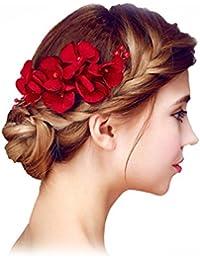 YAZILIND elegante peine tocado de Novia de pelo Pins flores rojo perla de la boda accesorios de pelo partido para las mujeres