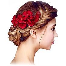 YAZILIND Elegante Tocado de Novia de Pelo Pins Flores Rojo Perla de la Boda Accesorios de