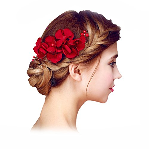 YAZILIND delicada boda tocado nupcial cabello Pins flores rojo perla accesorios de pelo para mujeres y niñas