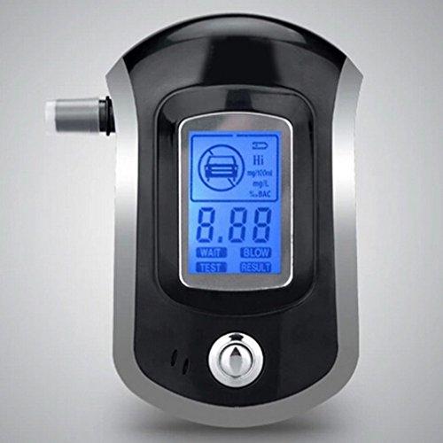 Éthylotest Testeur d'Alcool Professionnel Numérique - Alcootest Électronique Portable - Ecran LCD - Digital Breath - Indication d'indice Alcoolémique - 5 Embouts - Alcotest