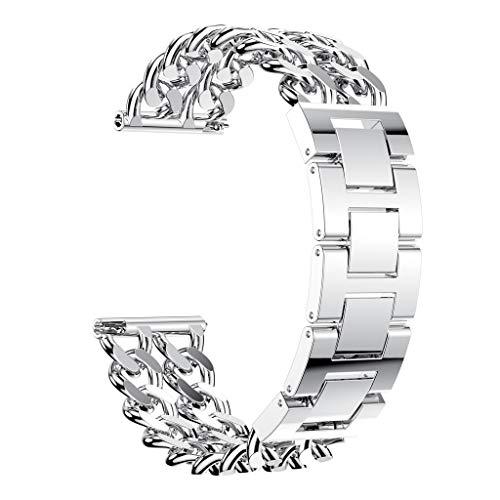 Knowin Uhrenarmband Sport Doppelreihen Cowboy Kettenlegierungs Uhrenarmband Handschlaufe für Fitbit Versa Lite mit Schnellverschluss Unisex Ersatzarmband Fitness Tracker Band -