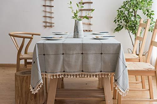 Lanqinglv Quaste Tischdecke 110x170 Blau Kariert Baumwolle und Leinen Tischtuch Rechteck Couchtisch Tischdecke Gartentischdecke Abwaschbar Küchentischabdeckung für Speisetisch (110x170,Blau) - Tischdecke Rechteck Blau