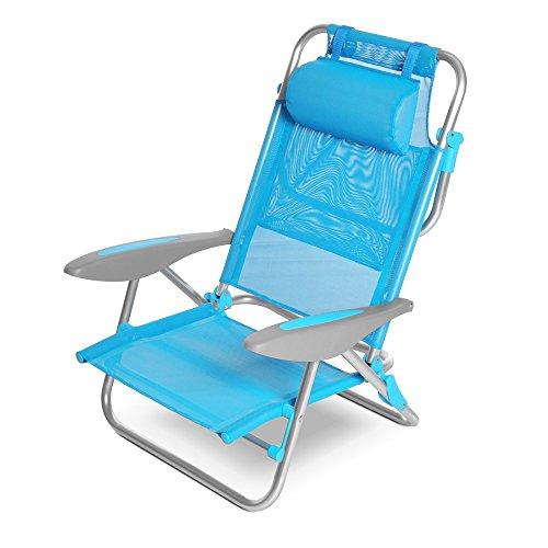 Q.bo spiaggina poltrona mare reclinabile 8 posizioni cuscino malibu azzurro 05193/a