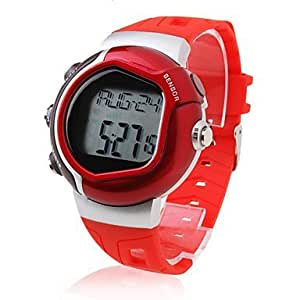 Unisex Calorie Counter Pulse Heart Rate Monitor Digital Wrist Watch (Red)