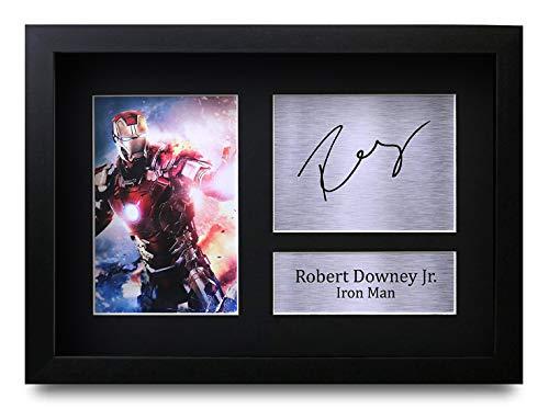 HWC Trading Robert Downey Jr (GERAHMTES) Geschenke Unterzeichneten A4 Gedrucktes Autogramm Iron Man Druck-Foto-Bilderanzeige -