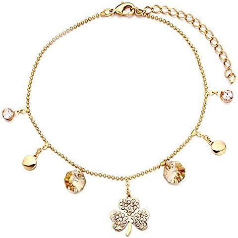 Womens Anklet Bracelet Golden Chain Dangle Clover Peach Color Topaz Crystal Ankle Bracelet 7 inch by CharmSStory